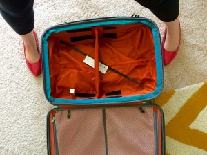 Red shoes and suitcase