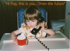 Baby Pug on a phone